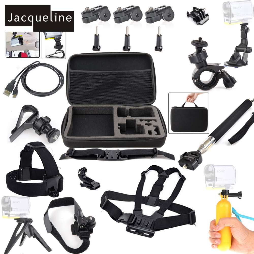 Jacqueline for Bike kit Accessories for Sony Action Sports Cameras HDR-AS10 AS20 AS15 AS30V AS100V AS200V AS50 AZ1 X100V/W 4K jacqueline for set kit accessories for sony action cam hdr as200v as30v as100v as20 az1 mini fdr x1000v w 4 k for yi action cam