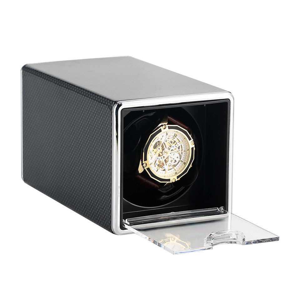Rectangle Watch Winder Automatic Winding Storage Boxes Black Paint/Leather Shaker Case New Arrival 2019