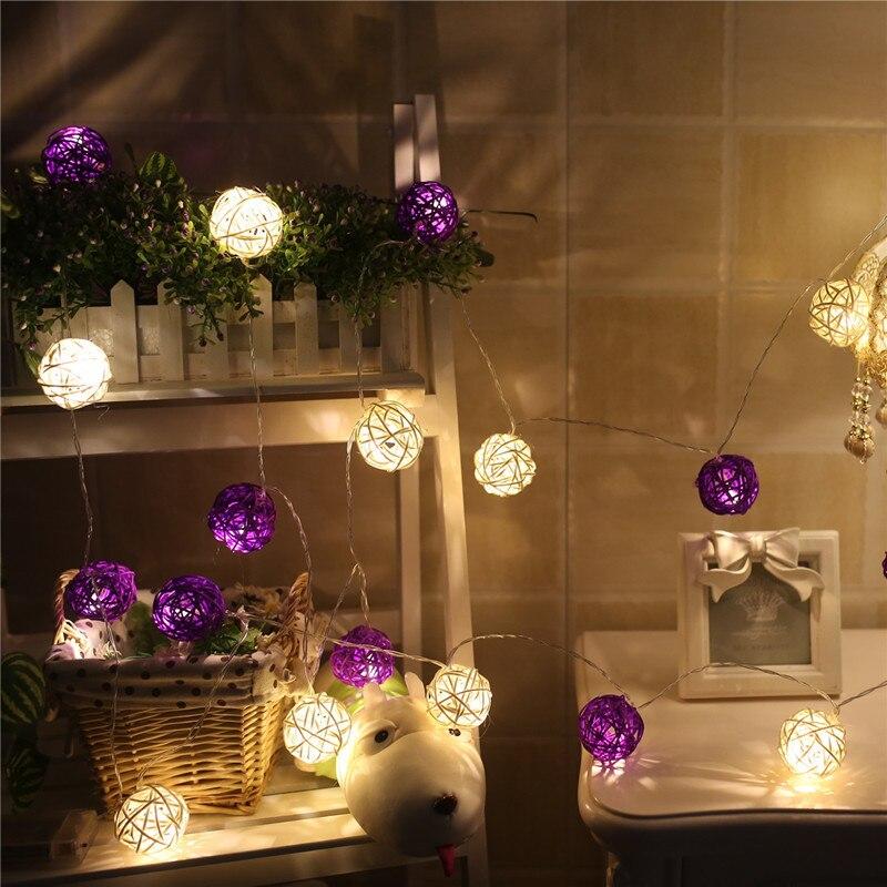 JUNJUE Led String Light Night Warm Christmas Lantern Wedding Decor Curtain Decoration Lights Fairy Lamps Rattan Ball Light