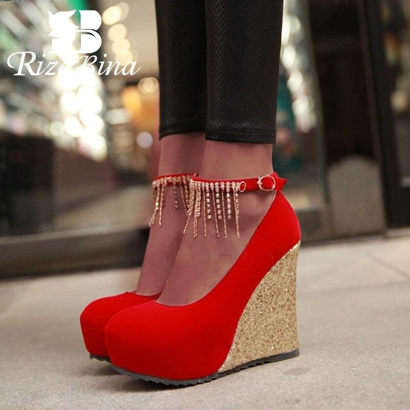RIZABINA Femmes De Base Pompes Cristal Chaussures À Talons Hauts Femmes Plate-Forme de Mode Office Lady Parti Chaussures De Mariage Taille 34-43