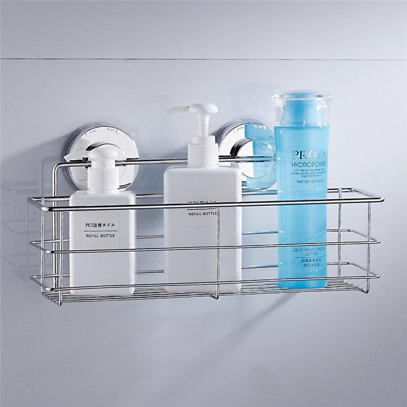 Stainless steel bathroom shelves bathroom organizer shower wall basket shelf with dual strong for Stainless steel bathroom shower shelves