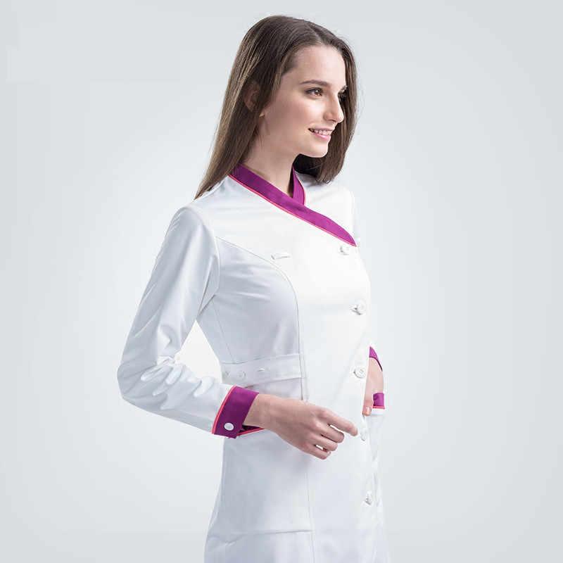 959a22b4bb0 ... 2018 New Plus Size Nurse Robe Winter Clothes for Women Medical Scrub  Clothing White Y Neck ...