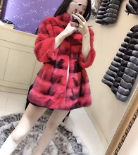 arlene sain 2017 newest Autumn and winter American velvet 100% mink fur coat red color length 70cm bust102-110cm free shipping
