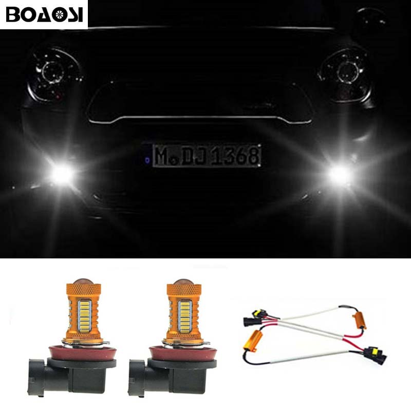 BOAOSI 2x H8 H11 Samsung 4014 LED DRL Fog Light Lamp Bulb + Canbus Decoders Error Free For Mercedes Benz W211 W212 W164 W221