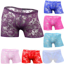 Mannen Sexy Ondergoed Rose Kant Transparante Mesh Lage Taille Boyshort Boxer Mannen Cueca Masculina Ropa Interieur Hombre Calzoncillo(China)