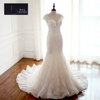 שמלות כלה בסגנון חוף Vintage בת ים שמלות כלה 2017 Appliqued שמלות חרוזים תחרת כלה