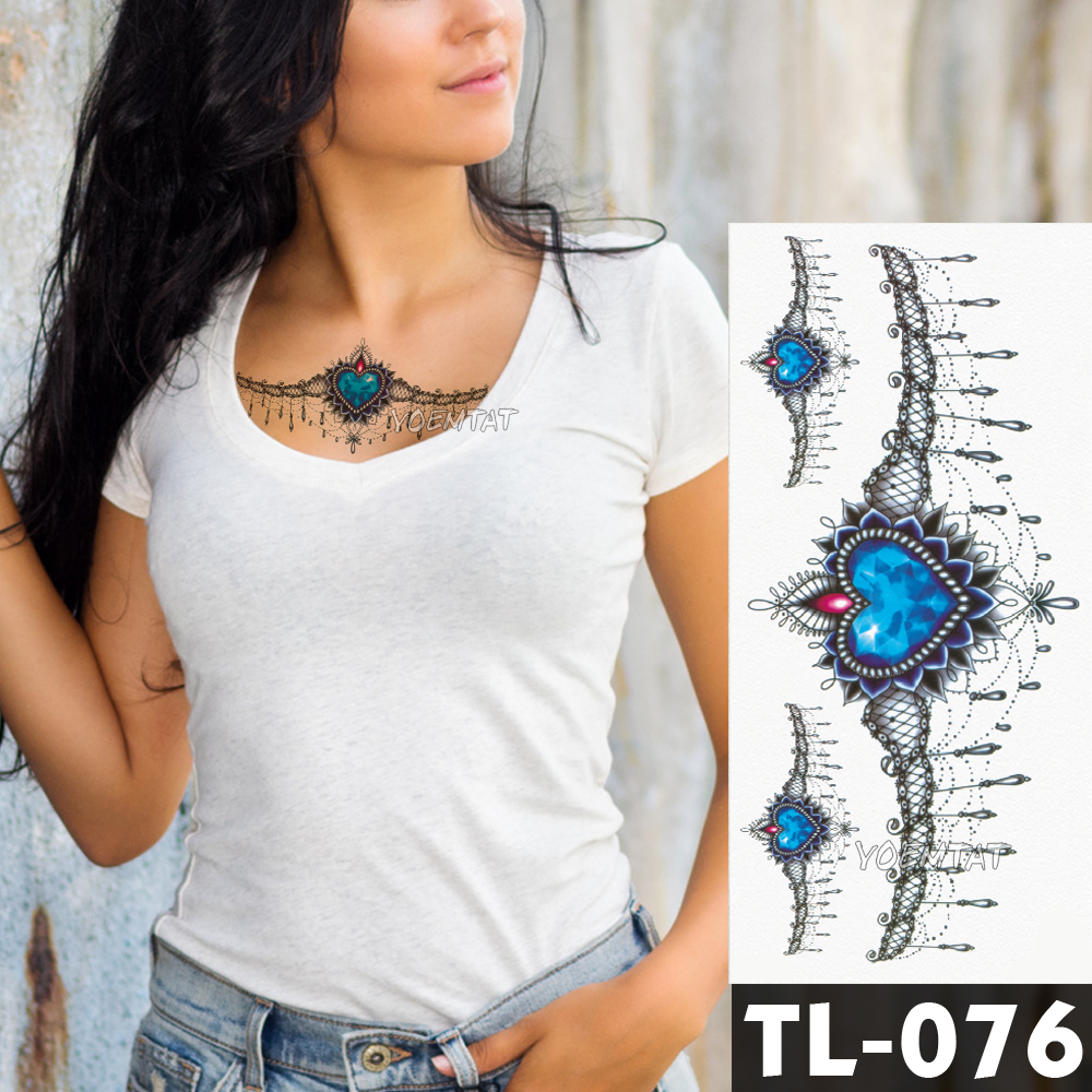 Water Transfer Blue Heart Shaped Jewelry Lace Temporary