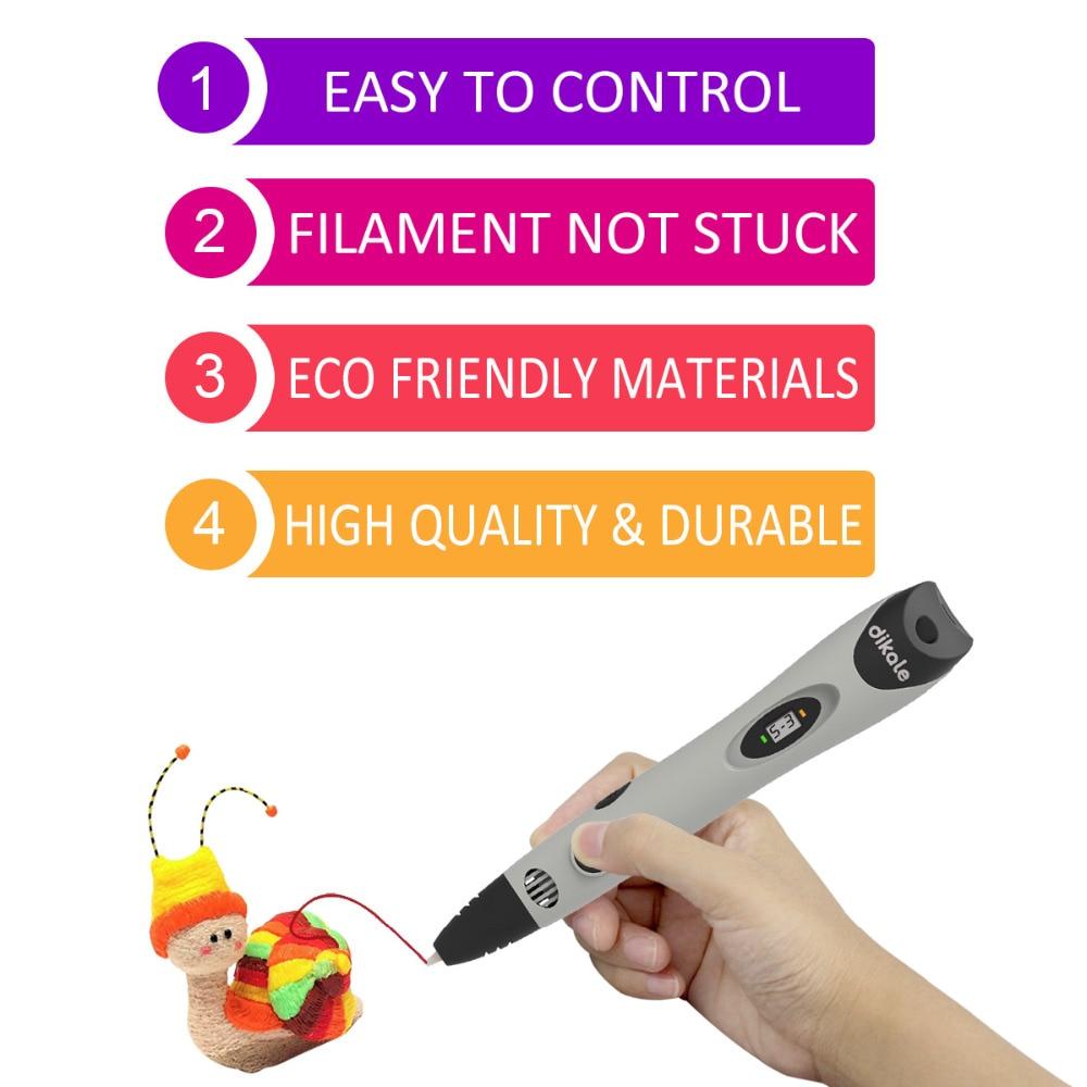 dikale 1.75mm PLA DIY 3D Printing Pen LED Screen 3D Pen Painting Pen+36M Filament Creative Toy Gift for Kids Design Drawing