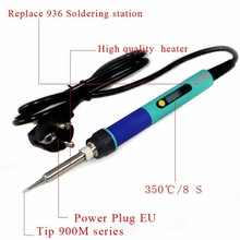 Бесплатная доставка ЕС Plug CXG 936d температура Регулируемая электрический паяльник 220 В 60 Вт Внутреннего отопления 900 М совет универсальный