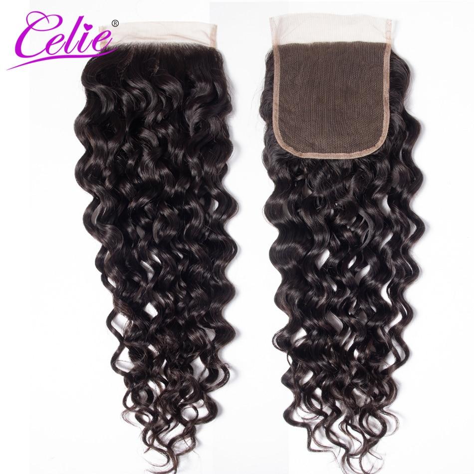 Celie Hair 5x5 Water Wave Brazilian Lace Closure Free Middle Part 150 Density Natural Black Color