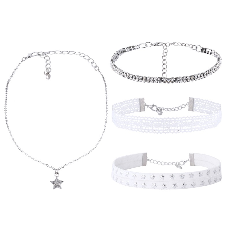 Rhinestone Choker Necklace White Lace Leather Velvet Multi Layer Gothic Fashion Crystal Alloy Star Necklaces Women Jewerly