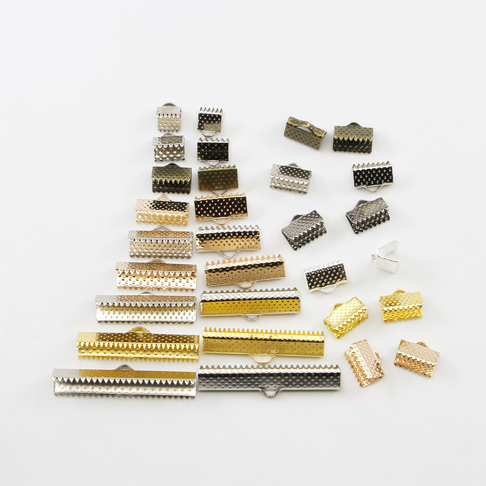 50pcs Cord Crimp End Beads Buckle Tips Clasp Cord Flat Cover Clasps For Jewelry Making