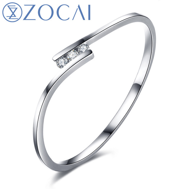 ZOCAI Natural 18K gold (AU750) Real 0.02 CT Certified H / SI Diamond  Wedding Women Ring W00130