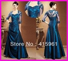 Elegant Navy Blue Taffeta Long Lace Mother of the Bride Groom Dresses Pant Suits M1564