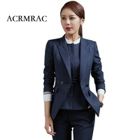 ACRMRAC Ms Long sleeves blue Professional suits Formal wear OL Formal Pant Suits