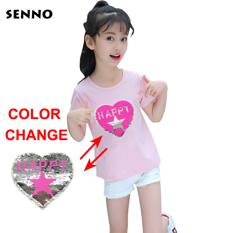 Magic Glitter Sequined Tops Switchable Heart Hello Happy Days Pattern Reversible Change Color Double Sequins T shirt Girl Kids plus size heart pattern t shirt dress
