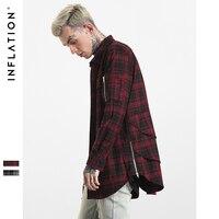 INFLATION 2017 New Autumn Men Shirt Long Sleeve Zipper Pocket Highstreet Mens Cotton Shirts With Side