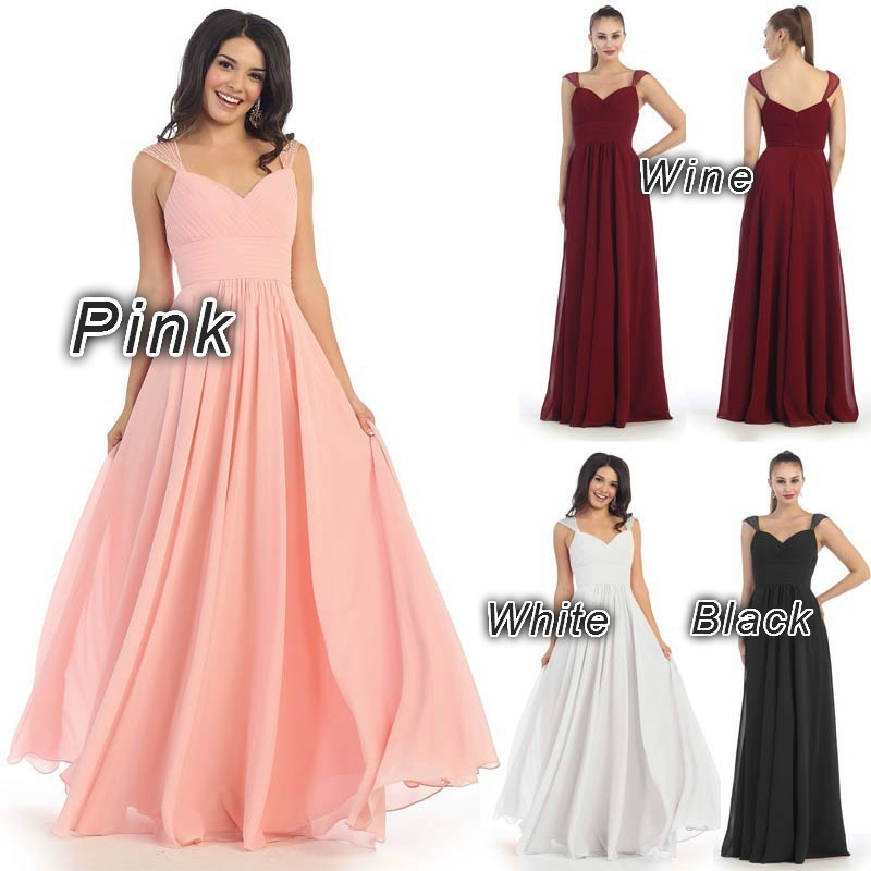 Long Prom Dresses 2018 Simple Cheap Beading Pleated Chiffon Formal