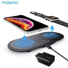 FDGAO Qi Wireless Charger For iPhone XS Max XR X 8 Samsung S9 S8 10W Fast Charging Pad with USB 3.0 Adapter For Apple Watch 4 3(China)