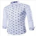 MEBOSYA 2016 Новый Стильный Длинным Рукавом Рубашки Платья Мужчины Модные Череп Звезда Печати Случайные Люди Slim Fit Социальные Рубашки
