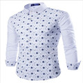 MEBOSYA 2016 New Stylish Long Sleeve Dress Shirts Men Fashion Skull Star Print Casual Slim Fit Men Social Shirts
