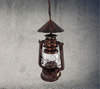 Nordic kerosene lantern vintage bronze chandelier lamp aisle lights wrought iron and creative restaurant lighting engineer GY65