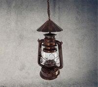 Nordic kerosin laterne vintage bronze kronleuchter lampe gang lichter schmiedeeisen und kreative restaurant beleuchtung ingenieur GY65-in Pendelleuchten aus Licht & Beleuchtung bei