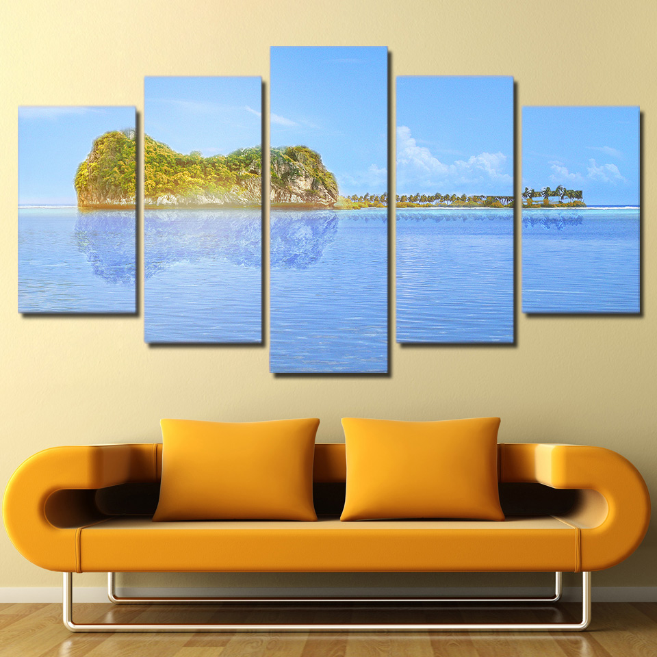 guitar island sea inverted 5 pieces canvas wall art printed picture home decor ebay. Black Bedroom Furniture Sets. Home Design Ideas