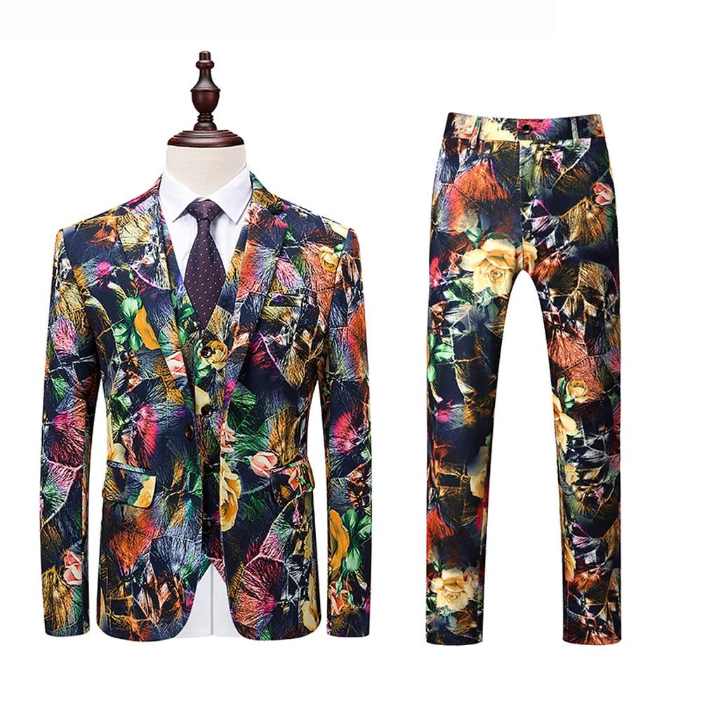 Veste pantalon gilet costume hommes Slim Fit décontracté stylé imprimé mâle robe costumes grande taille Streetwear mode fête de bal smoking 6XL 5XL