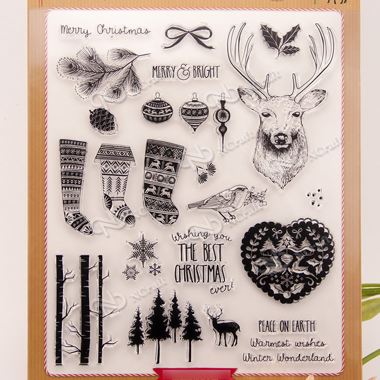 Forest Christmas Clear Silicone Stamp for DIY scrapbooking/photo album Decorative craft lovely animals and ballon design transparent clear silicone stamp for diy scrapbooking photo album clear stamp cl 278