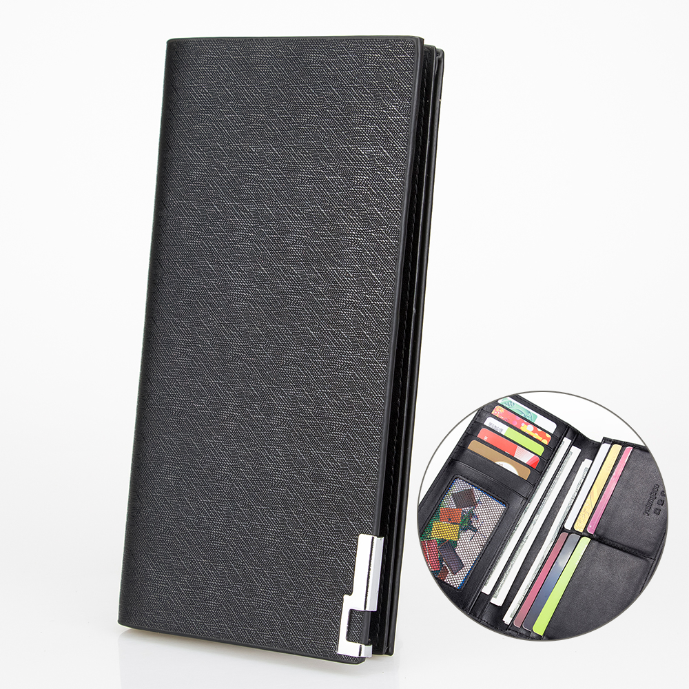 Classic Sequined Long Wallet Mans Bifold Wallet Black Frosted Leather Wallet Men Money Bag Card Holder New Casual Wallet