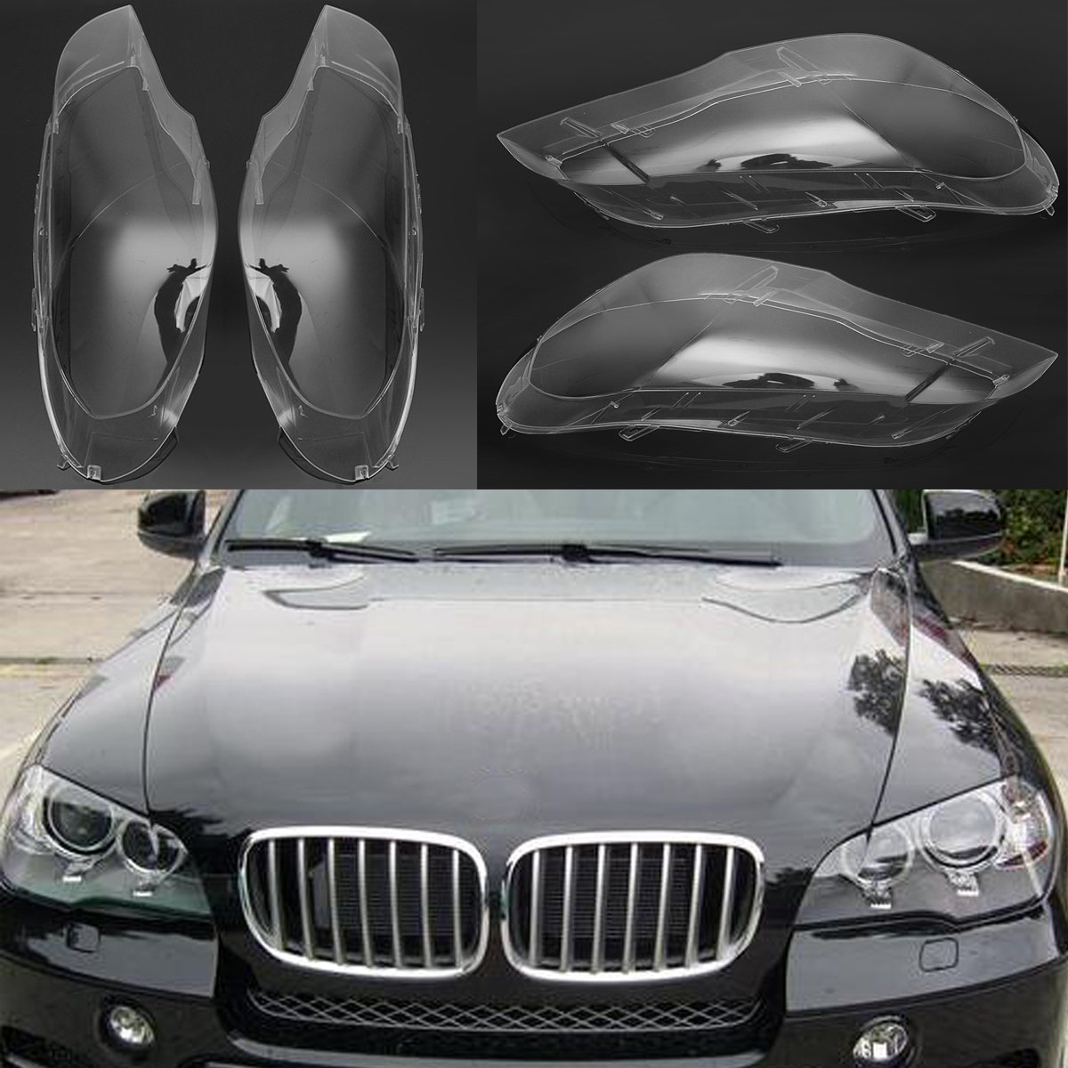 1pair Left &Right Transparent Headlight Headlamp Lens Replacement Cover for BMW 2007-2012 X5 E70 Car Lights Headlight Lamp Case pair car front headlamp clear lens headlight plastic shell clear cover for bmw e90 e91 2004 2005 2006 2007