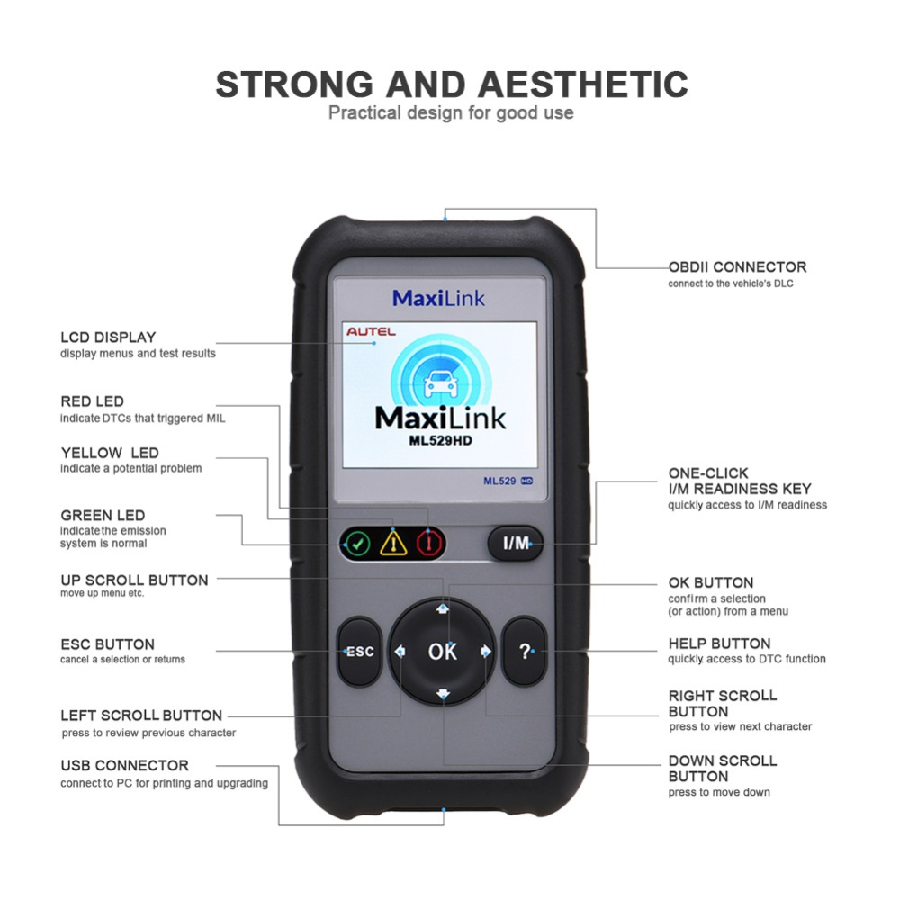 Image 4 - Autel MaxiLink ML529HD Scan Tool Enhanced Mode 6 OBD2 Auto Code Reader Heavy Duty Diagnostic Tool Utilizing SAE J1939 SAE J1708