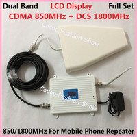 LCD DCS 1800MHz GSM 850Mhz Dual Band Mobile Phone Signal Booster Cell Phone 2g 3g wifi 4G LTE Signal Repeater Amplifier +Antenna