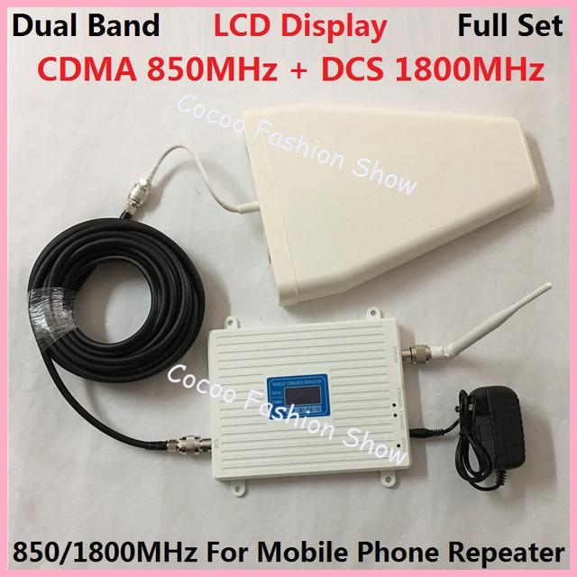 LCD GSM 850 Mhz DCS 1800 MHz Señal Del Teléfono Móvil de Doble Banda de Refuerzo Teléfono celular 2g 3g wifi 4G LTE Amplificador de Señal Del Repetidor + Antena