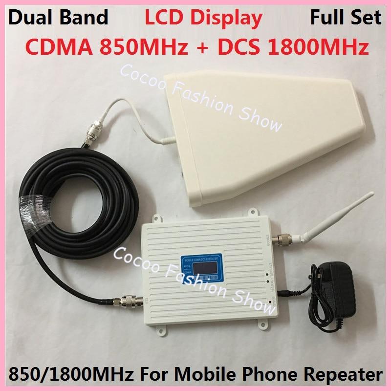 LCD DCS 1800 MHz GSM 850 Mhz Dual Band Handy Signal Booster Handy 2g 3g wifi 4G LTE Signalverstärker Verstärker + Antenne