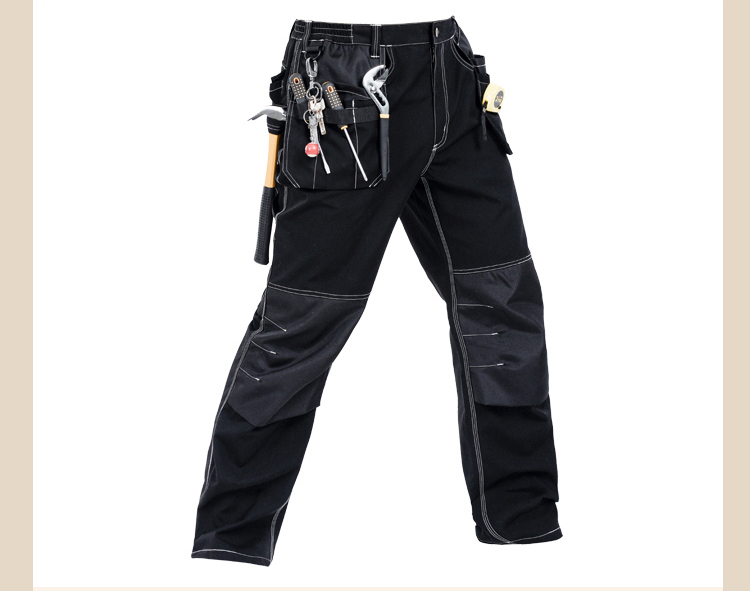 Men working pants multi pockets work trousers with removable eva knee pads top quality w ...