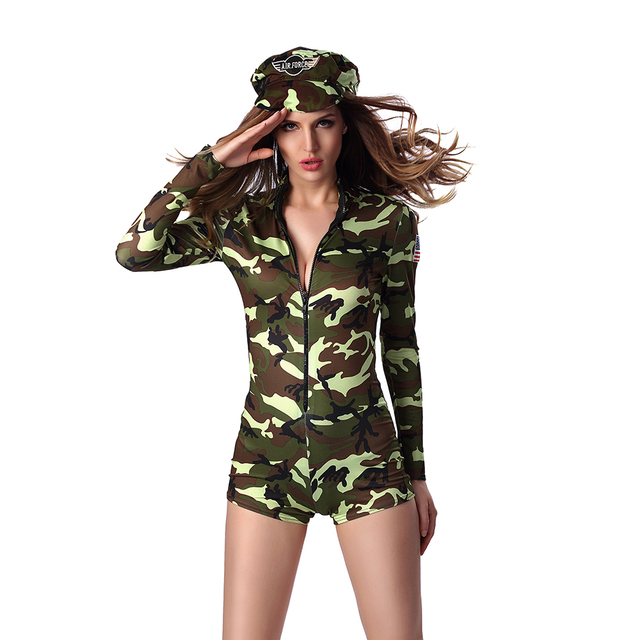 sexy cool girl army officer costume green camouflage bodysuit short leotard army costume military uniform halloween - Halloween Army Costumes