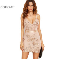 COLROVE Sexy Gold Spaghetti Strap Open Back Sequins Bodycon Mini Dress Club Wear Slip V Neck