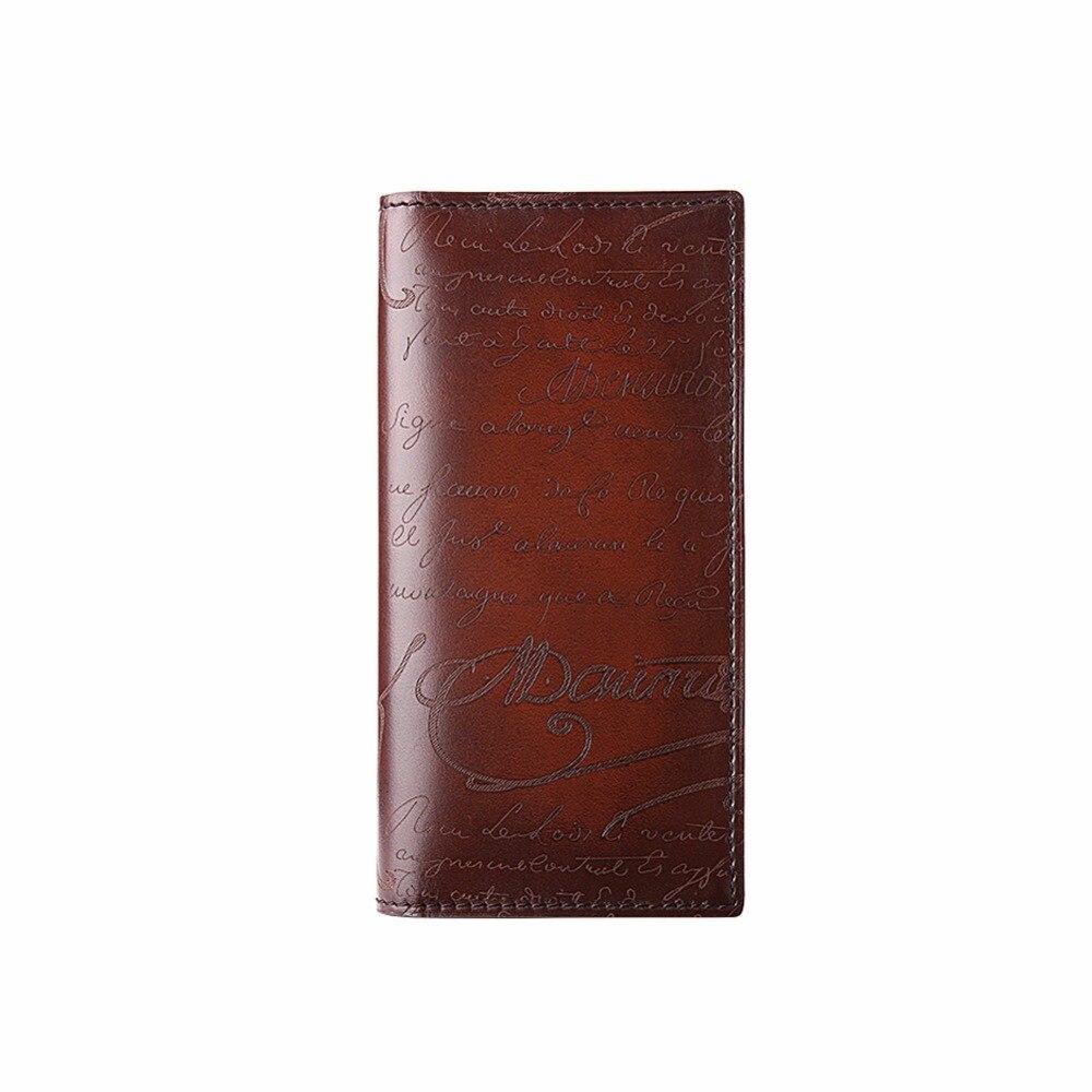 TERSE_Lettering Men Wallet Bifold Purse Full Grain Leather Bag Men Wallet High Quality Fashion Vintage Style Handmade Bags OEM
