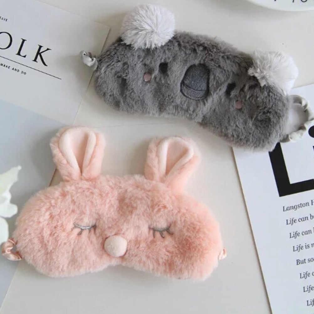 Koala/Tavşan göz bandı Bandaj Dinlenme Seyahat Uyku Yardım Körü Körüne Buz Kapağı göz bandı Göz Maskesi Şekerleme Karikatür Peluş