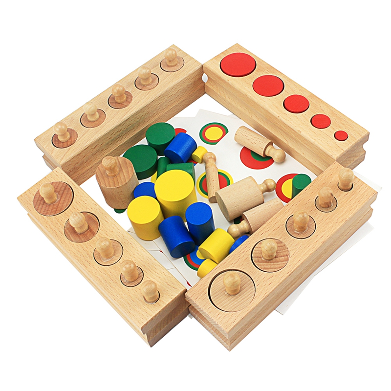 Montessori Sensory Toys Colorful Cylinder Blocks With Cards Educational Wooden Toys For ChildrenEducational Preschool Learning
