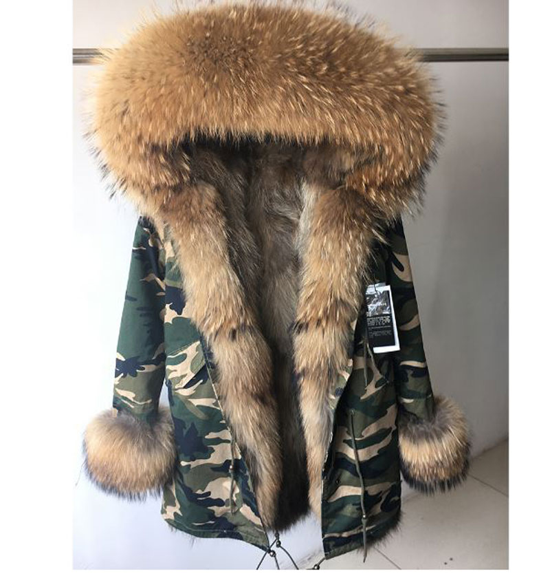 2017 Fur Coat Parkas Winter Jacket  Women Big Real Raccoon Fur Collar Cuff Camouflage Coat Natural Fox Fur Lining Long Outerwear 2017 winter new clothes to overcome the coat of women in the long reed rabbit hair fur fur coat fox raccoon fur collar
