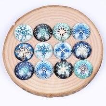 Onwear misturado floco de neve foto cabochons de vidro redondo 10mm 12mm 14mm 18mm 20mm 25mm diy joias descobertas