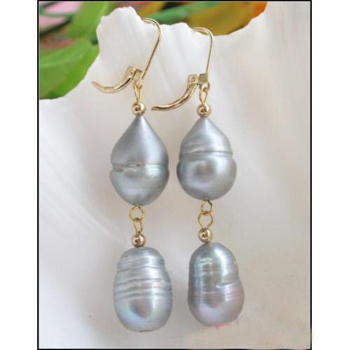 Élégant 100% véritable perle d'eau douce Dangle boucles d'oreilles pour les femmes, énorme 12-19mm gris perle perle bijoux