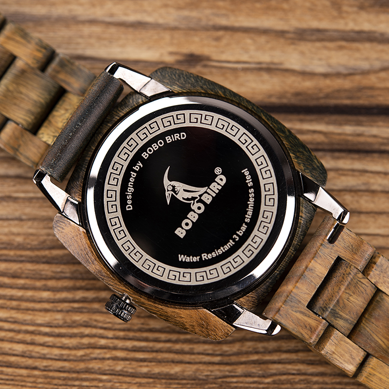 New Design! Luxury & Classic Wood Watch For Men W/Date Display & Gift Wood Box 11