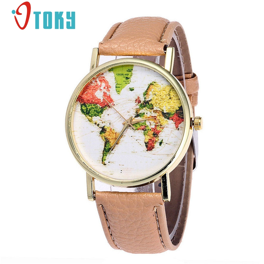 OTOKY Fashion Leather band colorful Watches Women world map relogio feminino Wrist Quartz Watch #23 2017 Gift 1pc fashion split leather band quartz analog bracelet wrist watch for women black 1 x 377