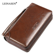 LEINASEN Brand Business Men Wallets Long Genuine Leather Cell Phone Clutch Purse Handy Bag high quality Zipper Large