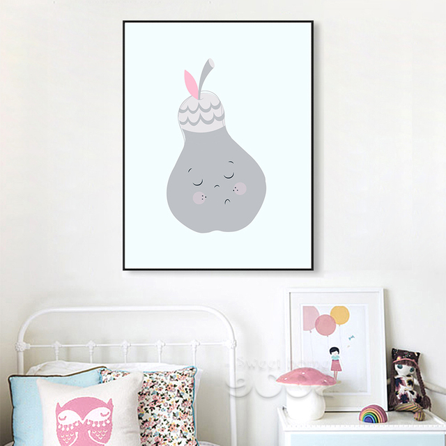 Cartoon Pear Canvas Art Print Painting Poster, Wall Picture for ...