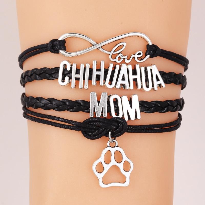 NCRHGL infinito amor CHIHUAHUA mamá pulsera perro pata encanto cuero hombres pulseras brazaletes para mujeres estiramiento joyería Envío Directo